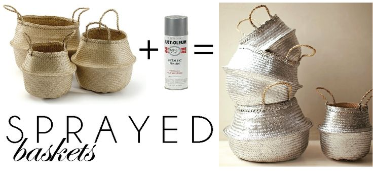 the HUNTED INTERIOR: Easy Basket Projects...love the silver idea for our family room