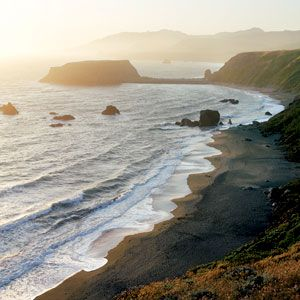 Bodega Bay, California: Riding up the California coast to wine country...a few of my favorite things; More than a dozen public beaches and coves are good stops along the county coastline. Salmon Creek is great for walking and surfing; at the mouth of the Russian River, Goat Rock is dramatic; Portuguese Beach offers nice views of sea stacks.