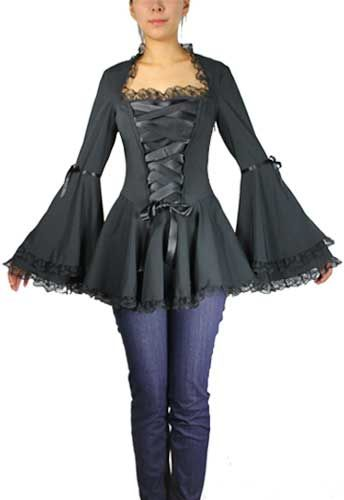 Steampunk Top Black Plus Size Corset Ribbon Lace Top $49.95 Buy at: ChicStar.com http://www.vintagedancer.com/victorian/steampunk-plus-size-dresses-and-corsets/