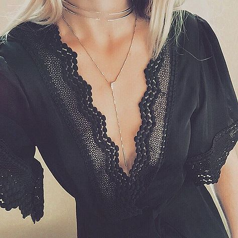 I love the neckline, the color, the lace details and the delicate necklaces!