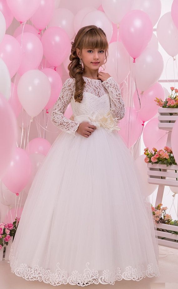 Lace Flower Girl Dress Long sleeve First by MiaBambinaBoutique