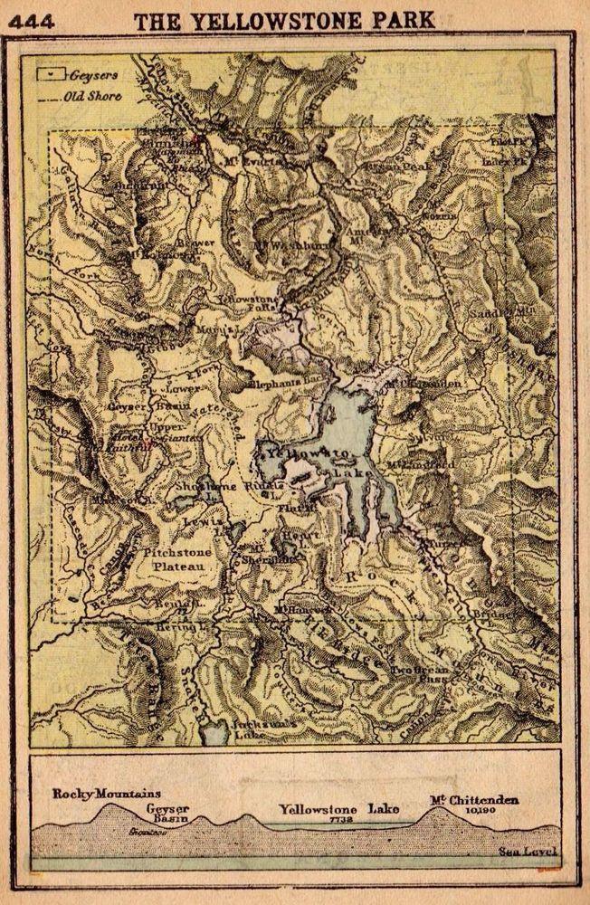 1902 Antique YELLOWSTONE Map RARE MINIATURE Yellowstone Park Map Wall Art 2782