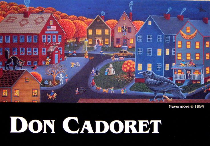 Postcard from 1996 - Don Cadoret Halloween painting