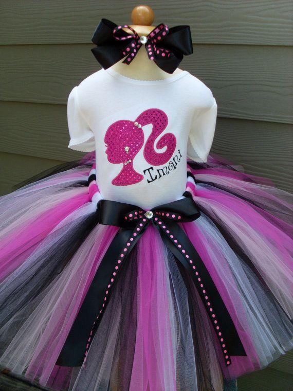 Girls Personalized Barbie Birthday Tutu Set Barbie Tutu