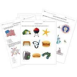 Free Memorial Day, 4th of July, and Summer Worksheets