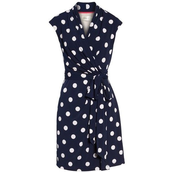 Women's Eliza J Polka Dot Jersey Faux Wrap Dress ($57) ❤ liked on Polyvore featuring dresses, navy, petite, navy dress, wrap dresses, petite dresses, polka dot jersey and navy blue jersey