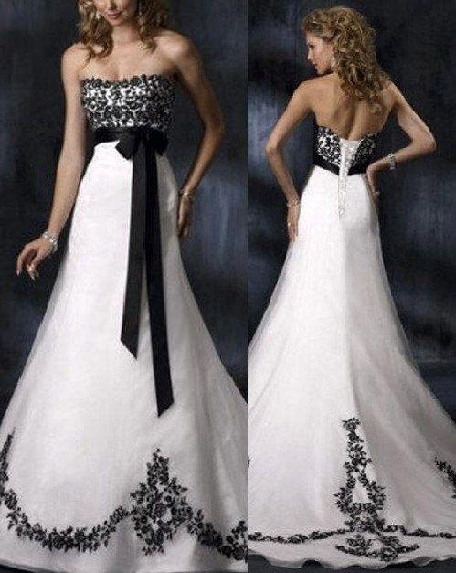 Free Shipping New Elegant Black/White Strapless Wedding Dress, Bride Evening Dress, Lace Formal Dress