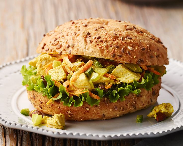 Chicken Bombay Salad in Whole-Grain Rolls  This savoury spin on chicken salad sandwiches is well worth a try. The smoky curry powder, juicy raisins, and crunchy almonds give this curry chicken salad amazing flavour and texture.