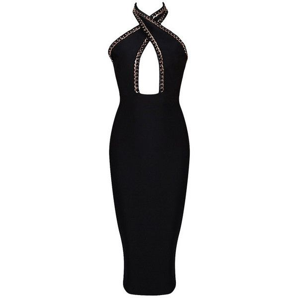 Honey couture black chain halter neck bandage dress (8,975 PHP) ❤ liked on Polyvore featuring dresses, gold halter dress, sexy gold dress, gold bandage dress, halter neck dress and halter-neck dress