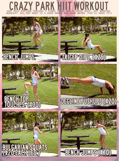 Hiit Workout Requires Park Bench Or Bleachers Bench