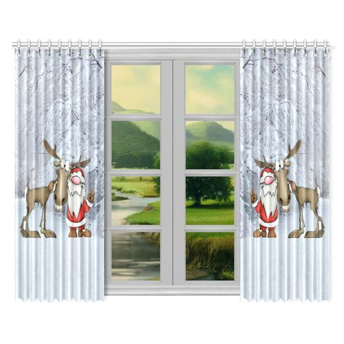 """Santa and Reindeer Window Curtain 52""""x84""""(Two Pieces) #freeshipping #artsadd #christmas"""