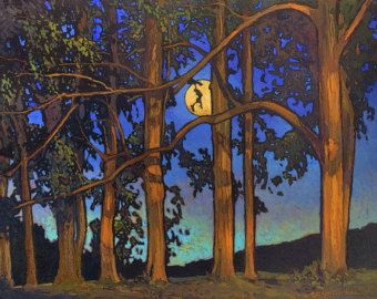 Quiet Calm Of Night- Moonrise - Giclee Art PRINT of Original Painting matted 16x20 by Jan Schmuckal