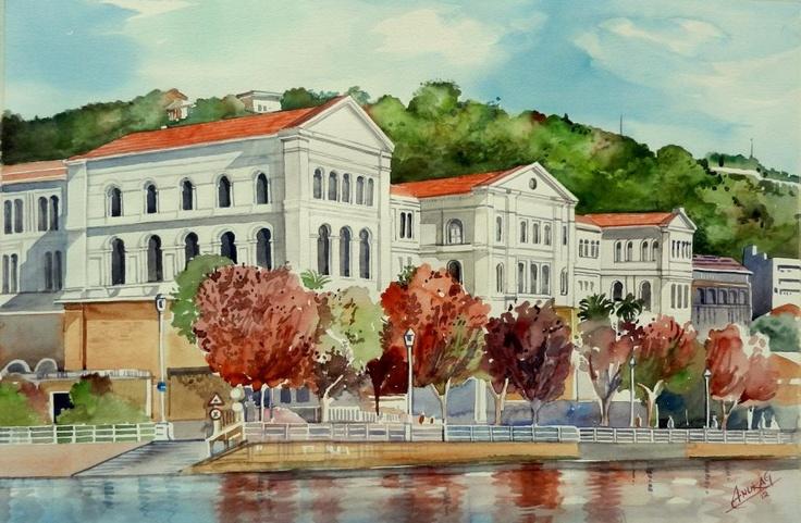 Deusto University, Bilbao, watercolour by Anurag Mehta, Udaipur, India . Available bpbilbao@gmail.com