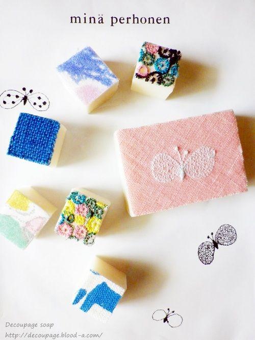 ミナペルホネンでデコパージュ石鹸:デコパージュ石鹸 ミナペルホネン布のはぎれで作ったデコパージュ石鹸