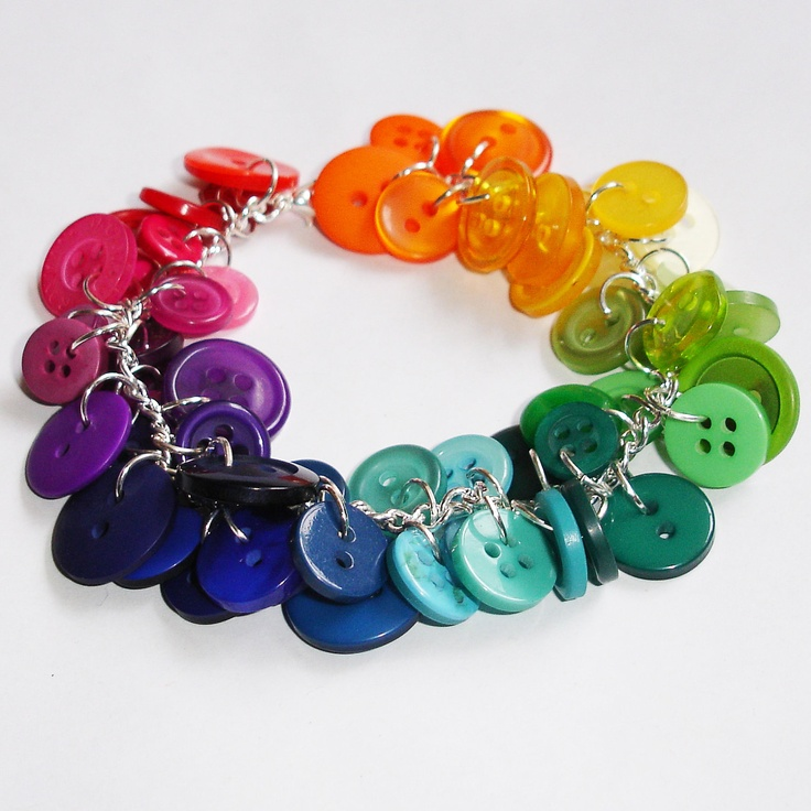Button Bracelets | Rainbow Button Charm Bracelet by NuadaAccessories on Etsy