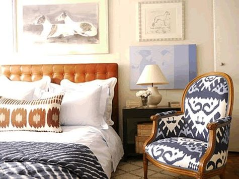 This is a color scheme and fabrics I like for your bedroom. Also notice the art placement. Instead of covering a chair in that Ikat fabric maybe drapes?