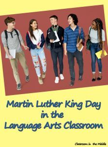 Martin Luther King Day in the Language Arts Classroom - ideas for writing, speech, and reading lessons, vocabulary lists, and classroom display ideas for Dr. King Day.