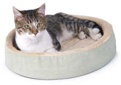 Thermo-Kitty Bed - Includes a dual thermostat 4 watt heating unit. Please visit http://www.petstreetmall.com/heated-cat-beds/373.html for more details.