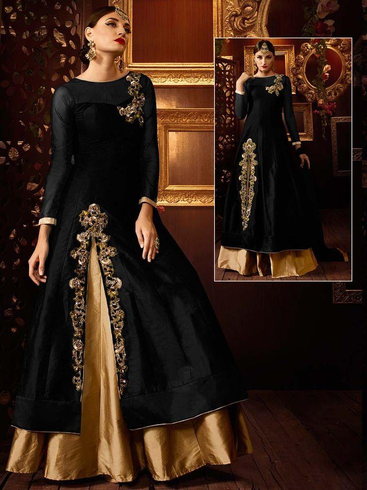 Black And Golden Lehenga on art silk having golden zari work. Item code: GKE103A http://www.bharatplaza.com/new-arrivals/lehengas.html