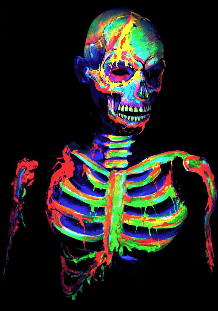 """""""NEON DEATH"""" —  Photographer: Anna Lingis - Anna Bella's Arty Farty Stuff Body Painter: Natalie Farmer - The Face Painting Shop and Anna Lingis Model: Dale Archer"""
