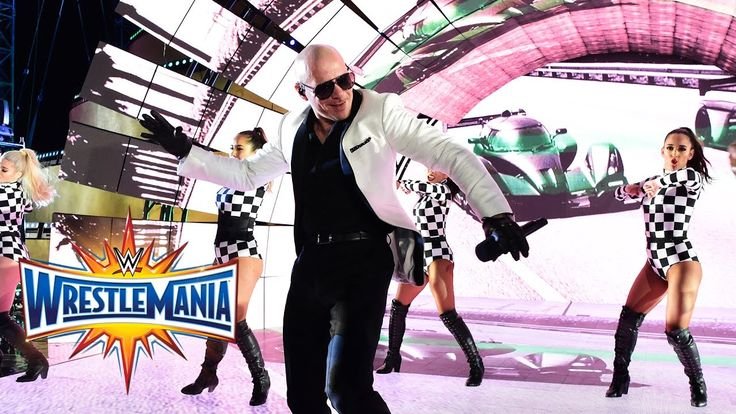 Pitbull, Flo Rida, Lunchmoney Lewis &Stephen Marley perform at WrestleMa...