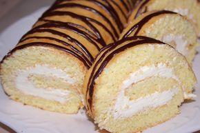 Бисквитный рулет. Очень легкий и простой рецепт. Бисквитное тесто: 5 яиц 200 гр. сахара 200 гр. муки 75 мл. кипятка Масляный крем на сгущенном молоке: 300 гр...