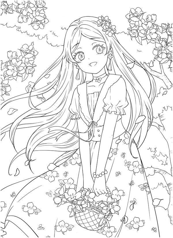 Download Tatacat Flower Fairy Dress Coloring Book Pdf Printable Hd Manga Coloring Book Coloring Book Art Coloring Books