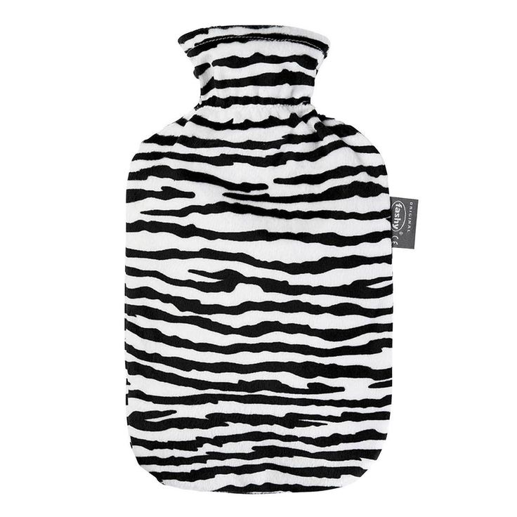 Fashy Faux Fur Cover Hot Water Bottle - Zebra Print - Fashy has been making high quality hot water bottles since 1986. This cozy hot water bottle cover is made with a faux fur zebra print.