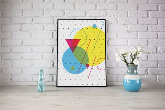 Poster 50x70 Large Wall Art Polka Dots Geometric Art