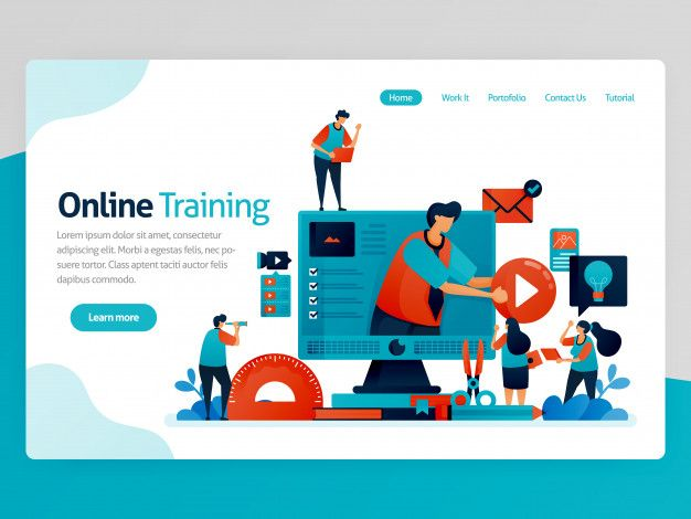 Illustration For Online Training Landing Page Web And Learning Apps Modern Education Distance Learning And Elearning Interactive Courses And Tutoring In 2020 Online Training Learning Apps Landing Page