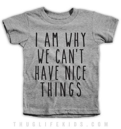 I am why we can't have nice things! White Shirts are 100% Cotton. Heather Grey Shirts are 90% Cotton, 10% Polyester. All Shirts are printed in the USA.
