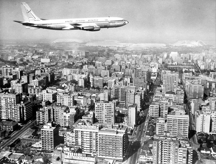 An S.A.A. Boeing 707 Inter-continental Jet Airliner Over Johannesburg