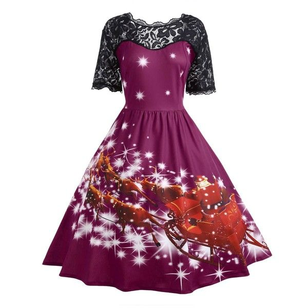 Purplish Red XL Plus Size Lace Insert Father Christmas Midi Party... ($14) ❤ liked on Polyvore featuring dresses, christmas cocktail dress, plus size christmas dresses, plus size dresses, purple cocktail dresses and red cocktail dress