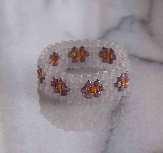 Nothin but SEED BEAD Ring - With Delicate Flowers via Etsy