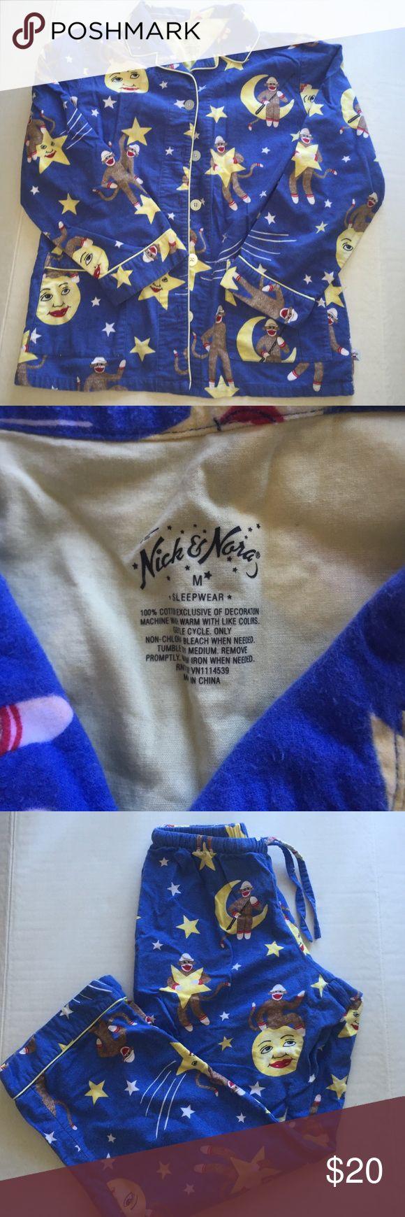 Nick & Nora moon and monkey PJ SET - M Nick & Nora sock monkey and moon and stars PJ Set - Pre owned but no stains or flaws. Nick & Nora Intimates & Sleepwear Pajamas