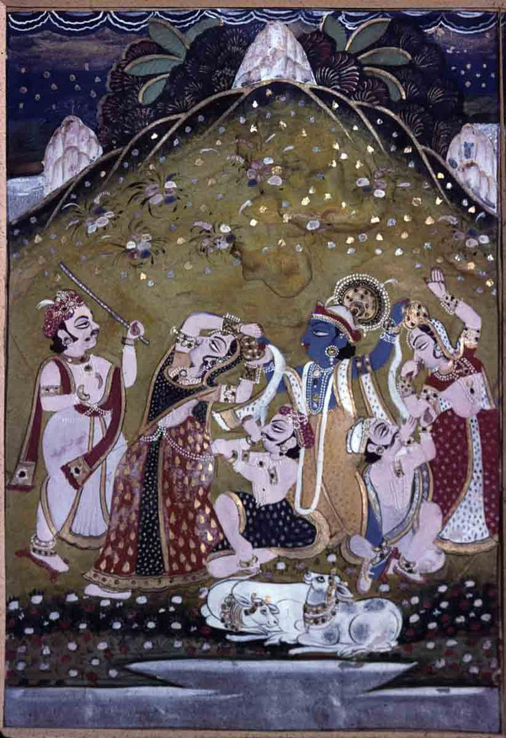 Krsna demanding curds. Present Location: Jaipur Museum. Location: Rajasthan, India.. Date: ca 1825 CE