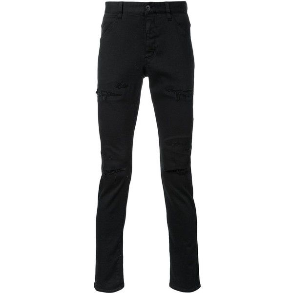 Kazuyuki Kumagai ripped skinny jeans ($567) ❤ liked on Polyvore featuring men's fashion, men's clothing, men's jeans, black, mens ripped skinny jeans, mens destroyed jeans, mens ripped jeans, mens torn jeans and mens distressed jeans