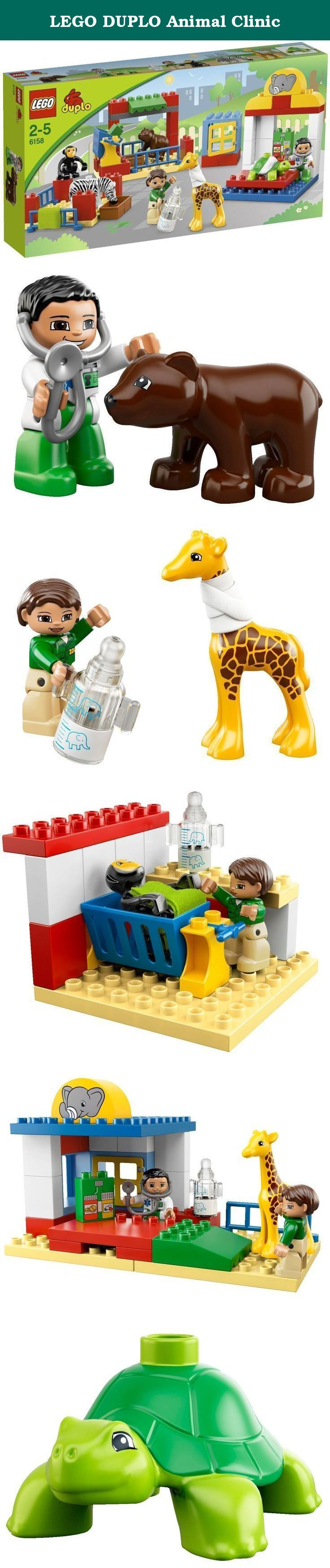 LEGO DUPLO Animal Clinic. At the Animal Clinic, the vets are helping the poorly animals get well again. Whether they are putting a bandage around the giraffe's neck or feeding the baby animals warm milk, there's always something to do for the busy vets. Includes 5 LEGO® DUPLO® animals and 2 vet DUPLO figures.