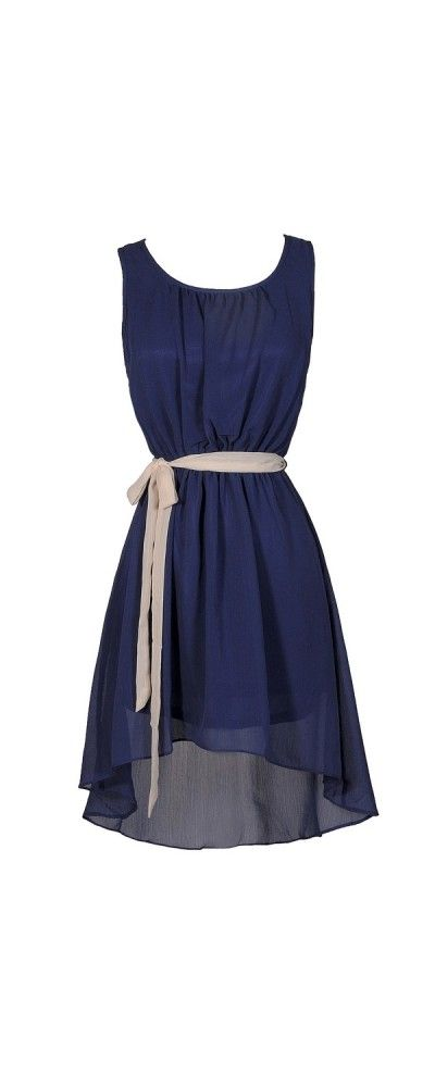 Simpler Times High Low Contrast Sash Dress in Blue/Beige www.lilyboutique.com