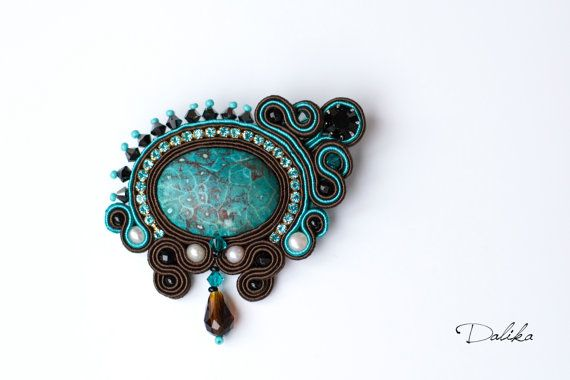 Sale. Elegant bright soutache brooch OOAK with by DalikaHandMade, $39.00
