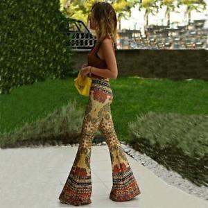 Women High Waist Stretch Wide Leg Palazzo Maxi Pants Bell Bottoms Flare Trousers