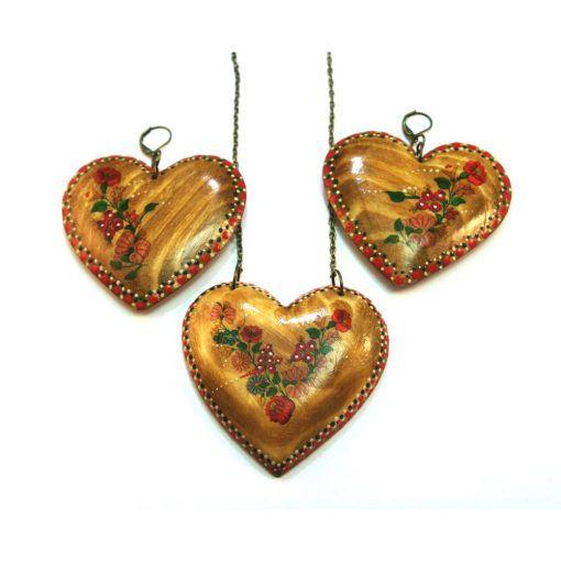 Drevené šperky náušnice, prívesok  – Srdce vidiek