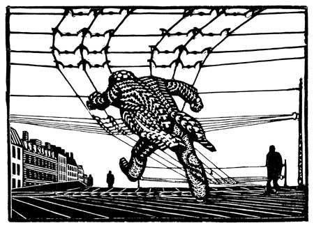 Palle Nielsen, Orfeus og Eurydike. På sporet. 1955, Linoleumsnit