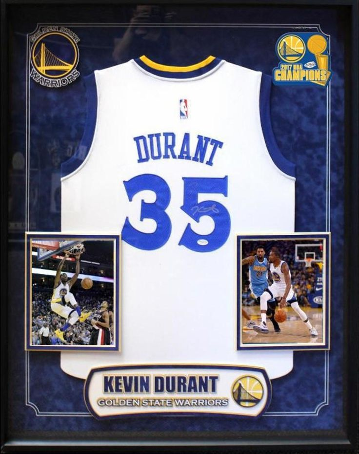 Kevin Durant - Golden State Warriors NBA Signed Basketball Jersey in Shadow Box