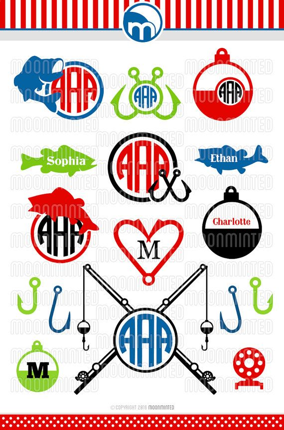 Fishing SVG Cut Files  Monogram Frames for Vinyl by MoonMinted