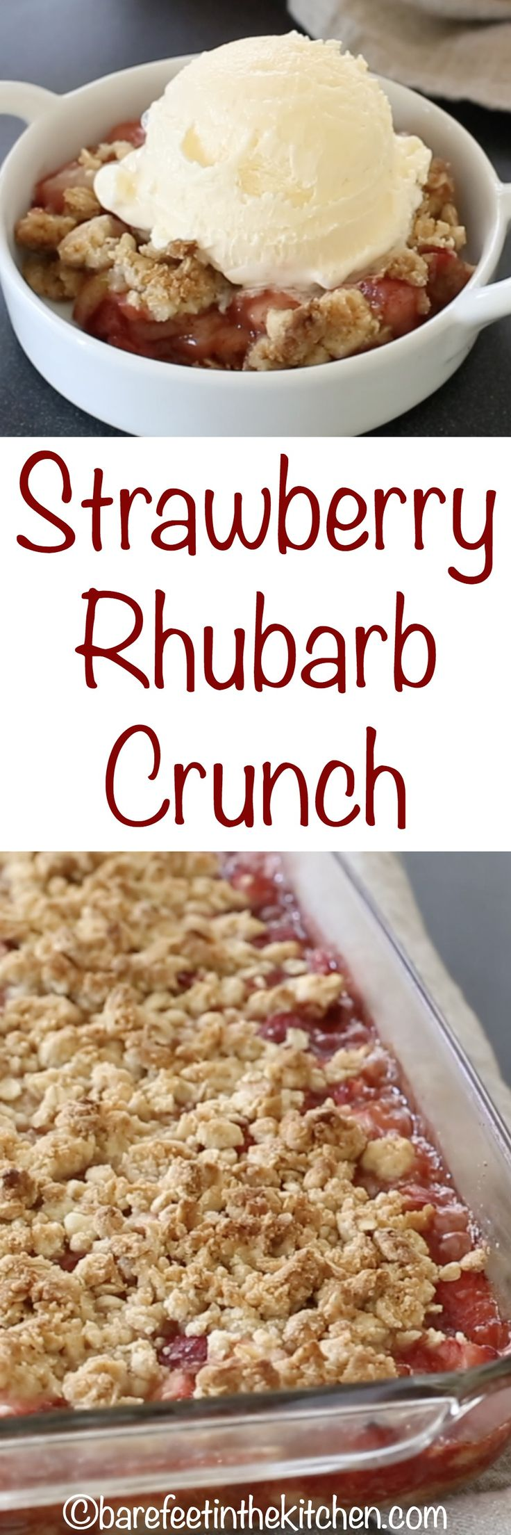 Strawberry Rhubarb Crunch  - get the recipe at barefeetinthekitchen.com (Baking Desserts Gluten Free)