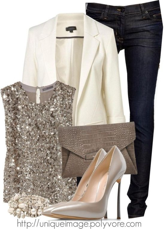 Winter casual party wear. Black slim jeans, white blazer ...