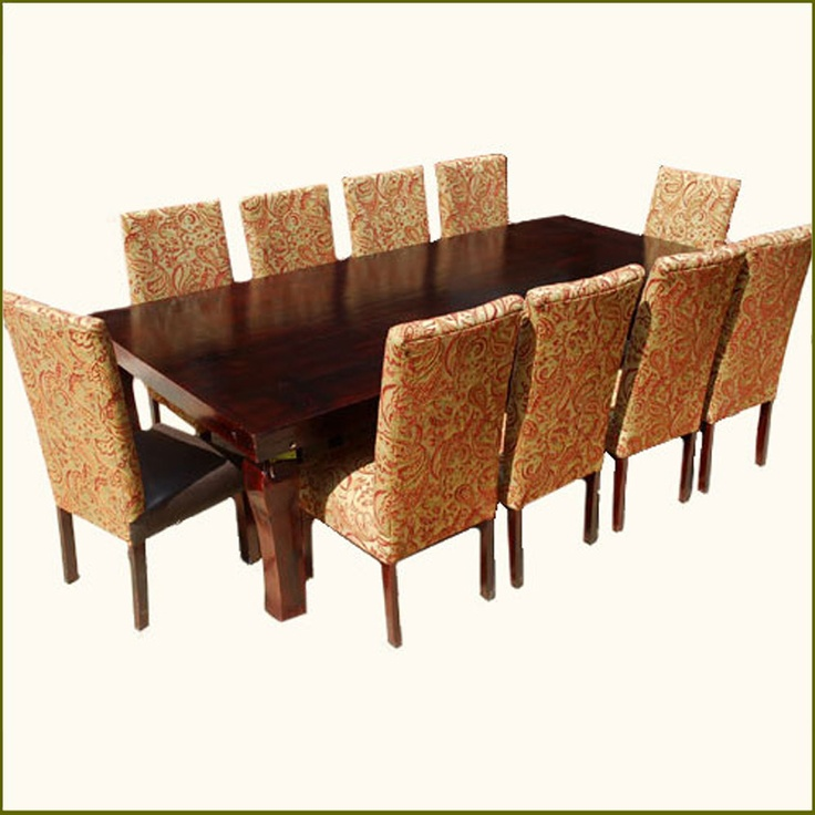 Matterhorn 11 pc leather high back formal dining room set for Formal dining room sets for 10