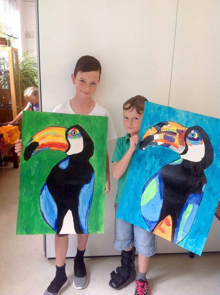 Anja Brock inspired toucans filled the the building on Friday with their big beaks of colour. Art Academy.                           Gloucestershire Resource Centre http://www.grcltd.org/scrapstore/