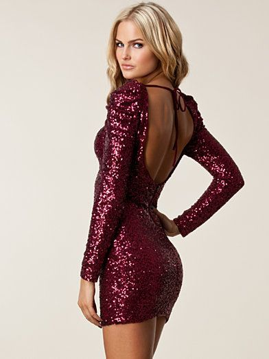 Alzena Sequin Dress - Tfnc - Burgundy - Party Dresses - Clothing - Women - Nelly.com #partydressesclubwear
